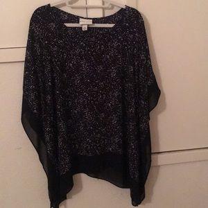 Black print loose kimono blouse - Ava & Viv